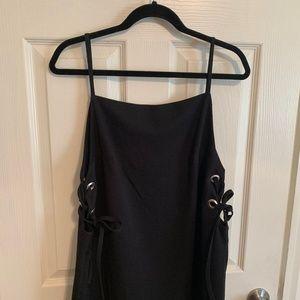 Square Neck Lace-up Dress